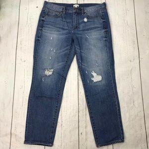 J Crew Distressed Straight Leg Jeans Medium Wash